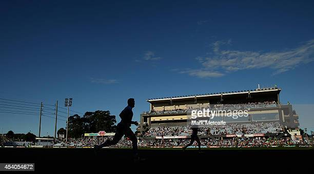 General view of play during the round 24 NRL match between the Cronulla Sharks and the Canberra Raiders at Remondis Stadium on August 24, 2014 in...