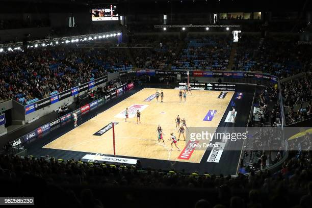 A general view of play during the round eight Super Netball match between Magpies and the Vixens at Margaret Court Arena on June 24 2018 in Melbourne...