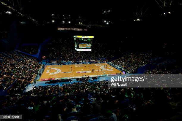 General view of play during the round eleven Super Netball match between the West Coast Fever and the Adelaide Thunder at RAC Arena, on July 17 in...