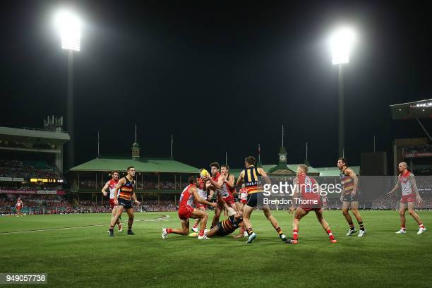 A general view of play during the round five AFL match between the Sydney Swans and the Adelaide Crows at Sydney Cricket Ground on April 20 2018 in...
