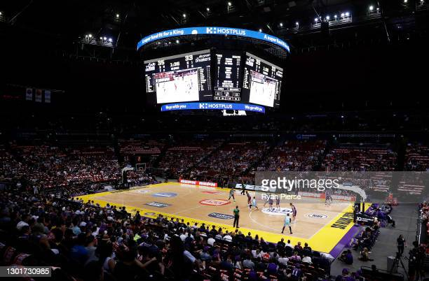 General view of play during the round five NBL match between the Sydney Kings and the New Zealand Breakers at Qudos Bank Arena, on February 12 in...