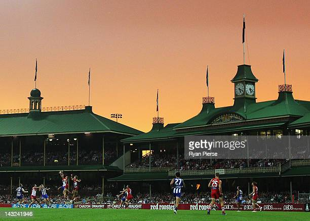 A general view of play during the round four AFL match between the Sydney Swans and the North Melbourne Kangaroos at the Sydney Cricket Ground on...