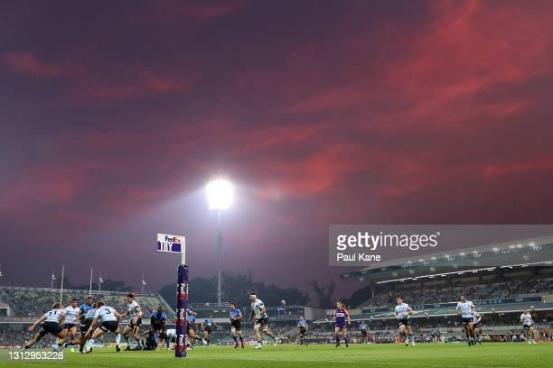 General view of play during the round nine Super RugbyAU match between the Western Force and the NSW Waratahs at HBF Park, on April 17 in Perth,...