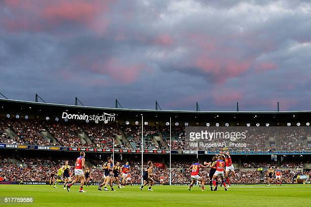 A general view of play during the round one AFL match between the West Coast Eagles and the Brisbane Lions at Domain Stadium on March 27 2016 in...