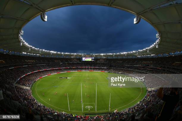 General view of play during the round one AFL match between the West Coast Eagles and the Sydney Swans at Optus Stadium on March 25, 2018 in Perth,...