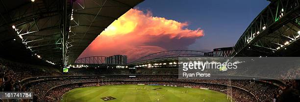 General view of play during the round one AFL NAB Cup match between the Collingwood Magpies and the Western Bulldogs at Etihad Stadium on February...