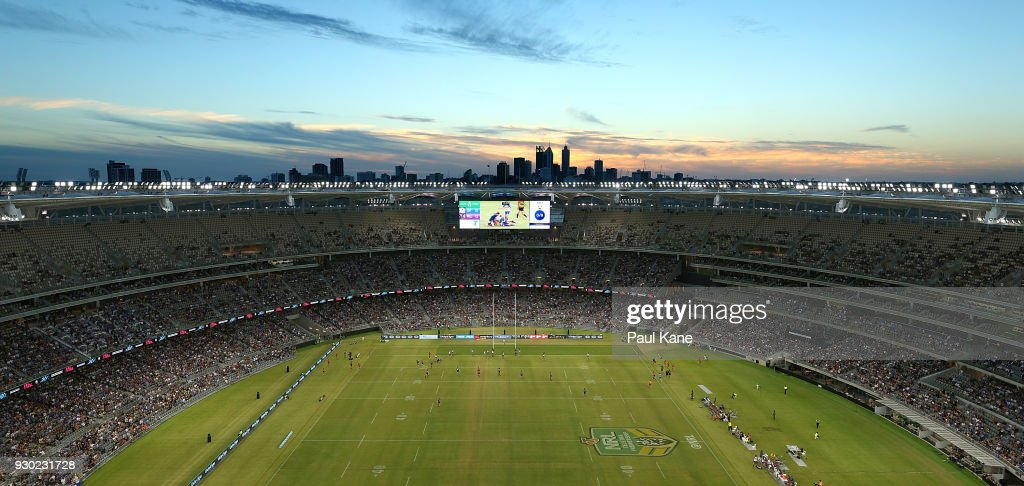 A general view of play during the round one NRL match between the Canterbury Bulldogs and the Melbourne Storm at Optus Stadium on March 10, 2018 in Perth, Australia.