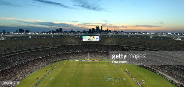 A general view of play during the round one NRL match between the Canterbury Bulldogs and the Melbourne Storm at Optus Stadium on March 10 2018 in...