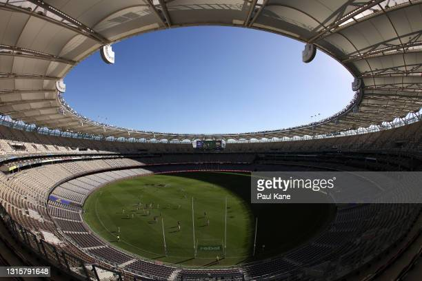 General view of play during the round seven AFL match between the West Coast Eagles and the Fremantle Dockers at Optus Stadium on May 02, 2021 in...