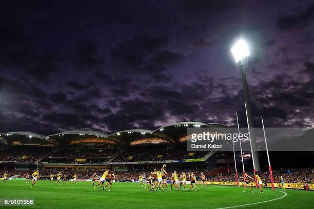 A general view of play during the round six AFL match between the Adelaide Crows and the Richmond Tigers at Adelaide Oval on April 30 2017 in...