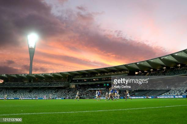 General view of play during the round six AFLW match between the Geelong Cats and the North Melbourne Kangaroos at GMHBA Stadium on March 13, 2020 in...