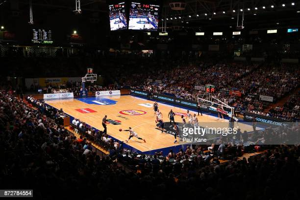 A general view of play during the round six NBL match between the Adelaide 36ers and the Illawarra Hawks at Titanium Security Arena on November 11...