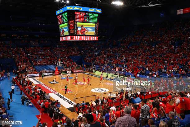 General view of play during the round three NBL match between the Perth Wildcats and the South East Melbourne Phoenix at RAC Arena, on January 29 in...