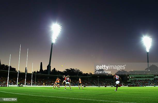 A general view of play during the round three of the NAB Cup AFL match between the Greater Western Sydney Giants and the Essendon Bombers at Manuka...