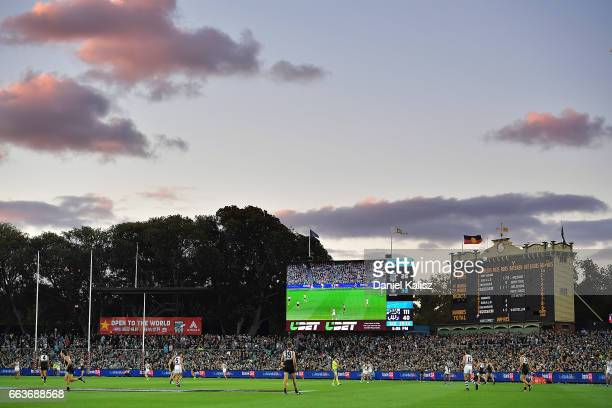 General view of play during the round two AFL match between the Port Adelaide Power and the Fremantle Dockers at Adelaide Oval on April 2, 2017 in...