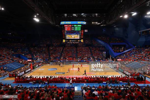 General view of play during the round two NBL match between the Perth Wildcats and the South East Melbourne Phoenix at RAC Arena, on January 24 in...