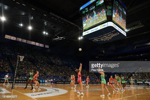 General view of play during the round two Super Netball match between West Coast Fever and Sydney Swifts at RAC Arena, on May 08 in Perth, Australia.