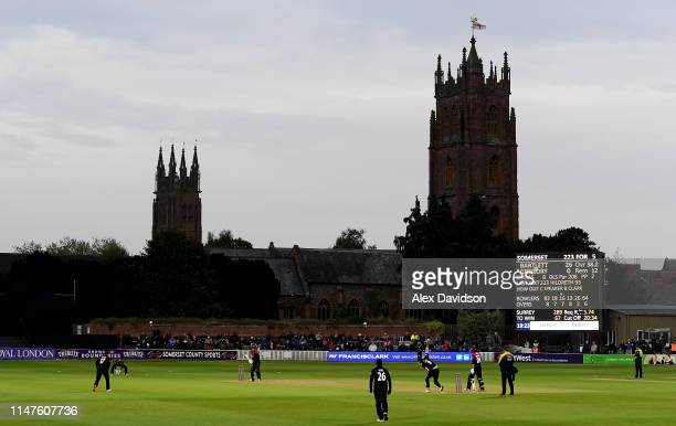 A general view of play during the Royal London One Day Cup match between Somerset and Surrey at The Cooper Associates County Ground on May 07 2019 in...