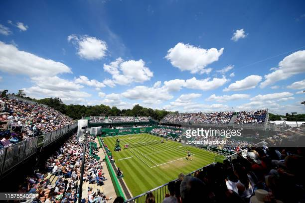 General view of play during the semi-final match between Ashleigh Barty of Australia and Barbora Strycova of the Czech Republic during day six of the...