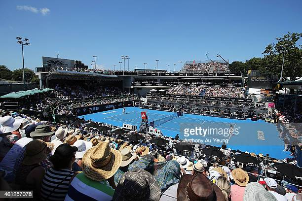 General view of play during the singles final match between Caroline Wozniacki of Denmark and Venus Williams of USA during day six of the 2015 ASB...
