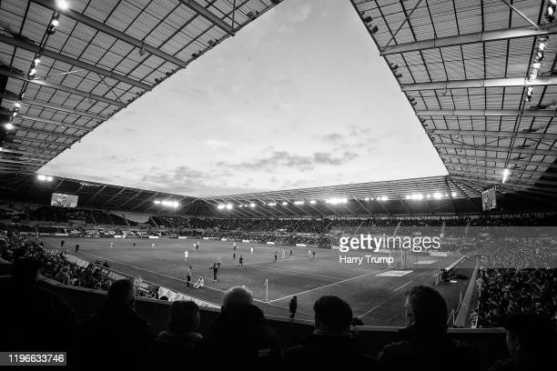 General view of play during the Sky Bet Championship match between Swansea City and Barnsley at Liberty Stadium on December 29, 2019 in Swansea,...