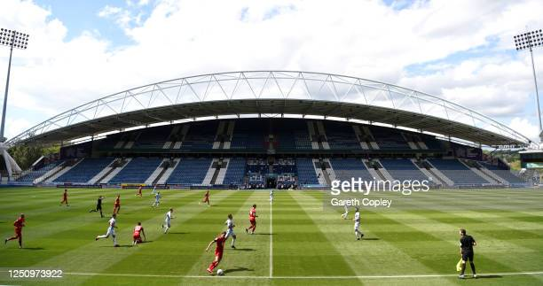 General view of play during the Sky Bet Championship match between Huddersfield Town and Wigan Athletic at John Smith's Stadium on June 20, 2020 in...