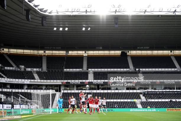 General view of play during the Sky Bet Championship match between Derby County and Nottingham Forest at Pride Park Stadium on July 04, 2020 in...