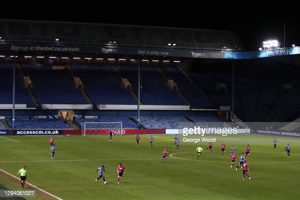 General view of play during the Sky Bet Championship match between Sheffield Wednesday and Derby County at Hillsborough Stadium on January 01, 2021...