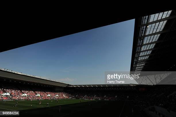 General view of play during the Sky Bet Championship match between Bristol City and Hull City at Ashton Gate on April 21, 2018 in Bristol, England.