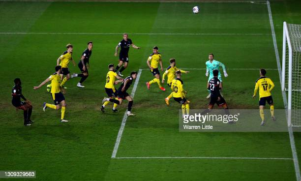 General view of play during the Sky Bet League One match between Oxford United and Lincoln City at Kassam Stadium on March 26, 2021 in Oxford,...