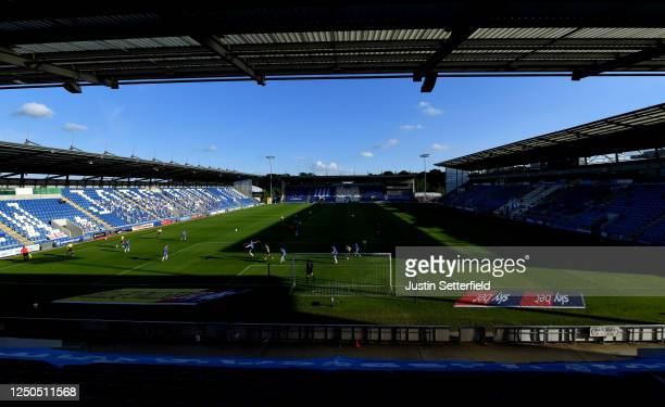 General view of play during the Sky Bet League Two Play Off Semi-final 1st Leg match between Colchester United and Exeter City at JobServe Community...