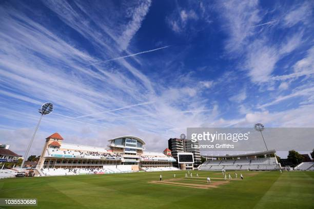 General View of play during the Specsavers County Championship Division One match between Nottinghamshire and Essex at Trent Bridge on September 12,...