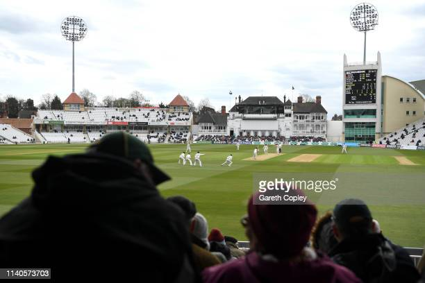 General view of play during the Specsavers County Championship Division One match between Nottinghamshire and Yorkshire at Trent Bridge on April 05,...