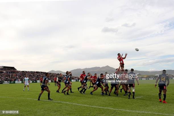 A general view of play during the Super Rugby trial match between the Highlanders and the Crusaders at Fred Booth Park on February 15 2018 in Waimumu...