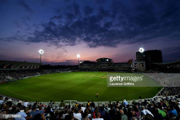 A general view of play during the T20 Vitality Blast match between Nottingham Outlaws and Birmingham Bears at Trent Bridge on August 02 2019 in...