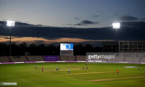 A general view of play during the Third One Day International between England and Ireland in the Royal London Series at Ageas Bowl on August 04 2020...