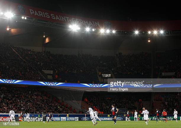 General view of play during the UEFA Champions League Group C match between Paris Saint Germain and RSC Anderlecht at Parc des Princes on November 5,...