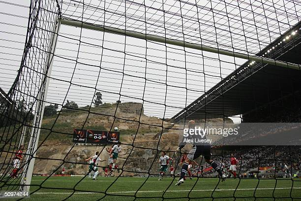 A general view of play during the UEFA Euro 2004 Group C match between Bulgaria and Denmark at the Municiple de Braga Stadium on June 18 2004 in...