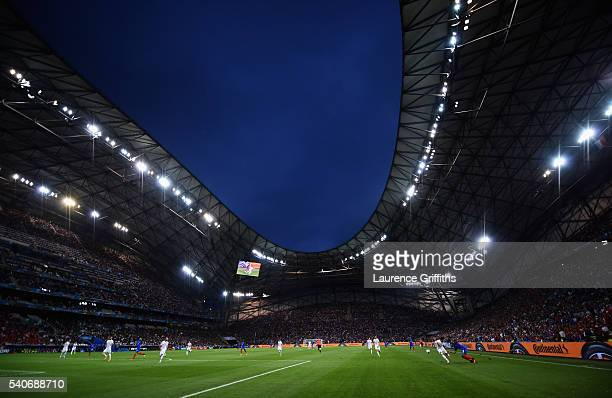 General view of play during the UEFA Euro 2016 Group A match between France and Albania at Stade Velodrome on June 15, 2016 in Marseille, France.