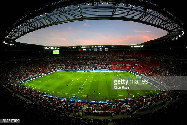 General view of play during the UEFA EURO 2016 semi final match between Portugal and Wales at Stade des Lumieres on July 6, 2016 in Lyon, France.