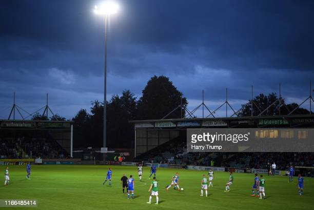 General view of play during the Vanarama National League match between Yeovil Town and Eastleigh FC at Huish Park on August 06, 2019 in Yeovil,...
