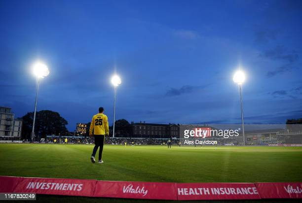 A general view of play during the Vitality Blast match between Gloucestershire and Hampshire at Bristol County Ground on August 13 2019 in Bristol...