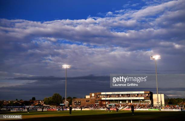 A general view of play during the Vitality Blast match between Derbyshire Falcons and Northampton Steelbacks at The 3aaa County Ground on August 8...
