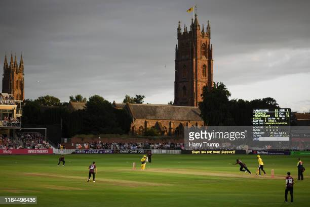 General view of play during the Vitality Blast match between Somerset and Hampshire at The Cooper Associates County Ground on July 26, 2019 in...