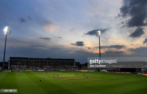General view of play during the Vitality Blast match between Somerset and Surrey at The Cooper Associates County Ground on August 02, 2019 in...