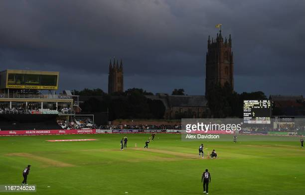 A general view of play during the Vitality Blast match between Somerset and Kent Spitfires at The Cooper Associates County Ground on August 10 2019...