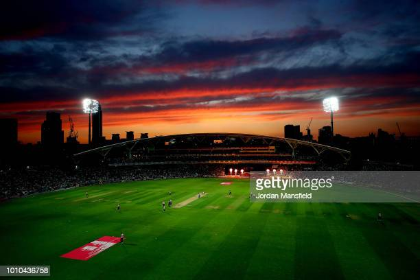 A general view of play during the Vitality Blast match between Surrey and Middlesex at The Kia Oval on August 3 2018 in London England