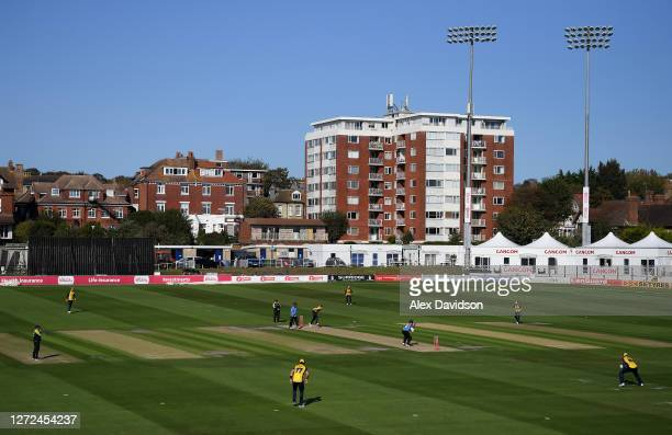 General view of play during the Vitality Blast match between Sussex Sharks and Essex Eagles at The 1st Central County Ground on September 14, 2020 in...