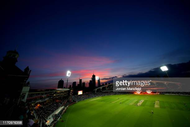 General view of play during the Vitality T20 Blast match between Surrey and Essex Eagles at The Kia Oval on August 29, 2019 in London, England.