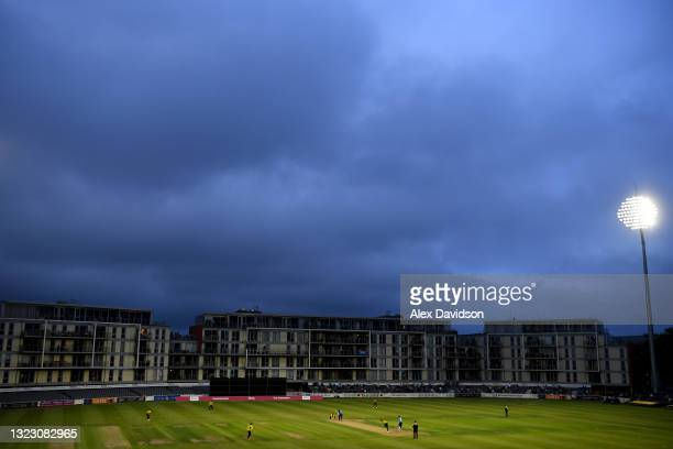 General view of play during the Vitality T20 Blast match between Gloucestershire and Sussex Sharks at Bristol County Ground on June 11, 2021 in...